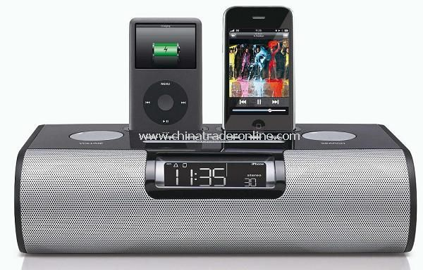 wholesale dual dock alarm clock radio for ipod and iphone buy discount dual dock alarm clock. Black Bedroom Furniture Sets. Home Design Ideas