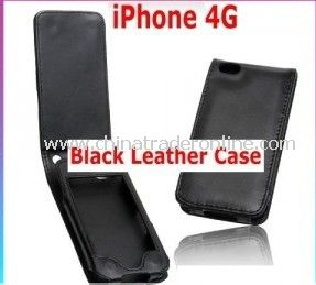NEW BLACK LEATHER POUCH CASE COVER SKIN For iPhone 4 4G from China