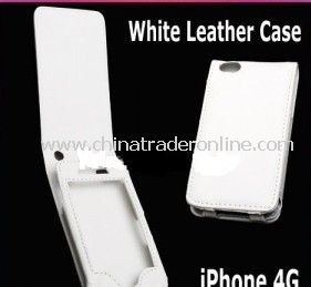 NEW WHITE LEATHER POUCH CASE COVER SKIN For iPhone 4 4G from China