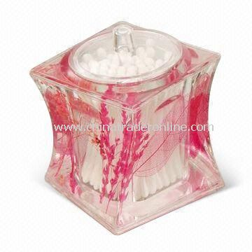 Toothpick Box/Cotton Swab Holder, White Oil and Dry Flower Insert