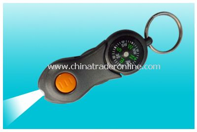 LED keychain with compass