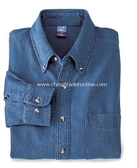 Denim Shirt - Port & Company Long-sleeved Value Denim Shirt, Cotton Denim, 6.5 oz