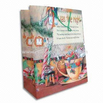 Art Paper Bag with Rope Handle, Available in Christmas Design