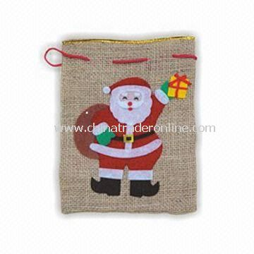 Christmas Bag, Made of Natural Flax, Various Colors are Available