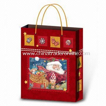 Christmas Carrier Bag, Made of Paper, Customized Logos are Accepted