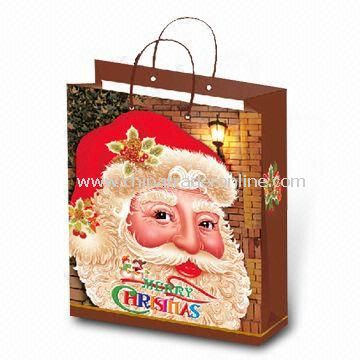 Christmas Carrier Bag in Santa Claus Design, Made of Paper, Various Colors and Sizes are Available