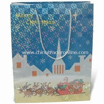 Christmas Paper Bag, Cotton Handle, Laminated with Laser Film, Available in Various Sizes