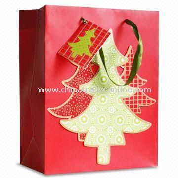 Christmas Paper Bag with Matte Lamination, Customized Designs are Welcome