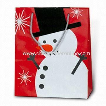 wholesale Christmas Paper Bag with Snowman Picture, Customized ...