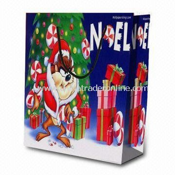 Christmas Retail Paper Bag , Made of 210g White Cardboard, Suitable Promotional Gifts
