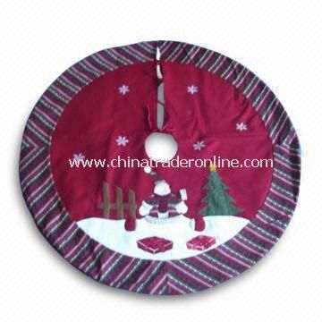 Christmas Tree Skirt with 42 Inches Size and Red/Green Stripes
