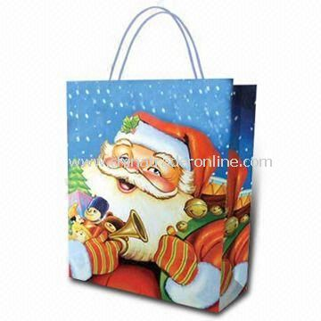 Kraft Paper Bag for Christmas, Measures 20 x 25 x 12cm, Eco-friendly