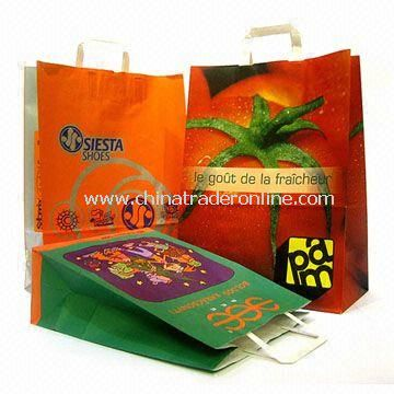 Machine-made Christmas Paper Gift Bag with Flat Handle and 1 to 6-color Printing