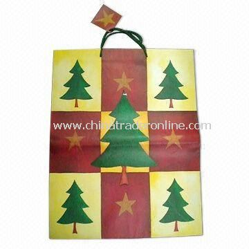 Paper Bag with Christmas Tree Printing, Suitable for Shopping
