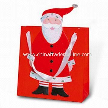 Paper Carrier Bag in Santa Claus Design, Suitable for Christmas Holiday and Promotional Purposes