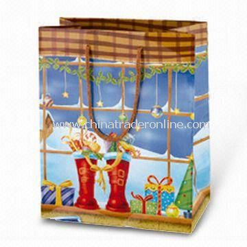Paper Carrier Bag with Christmas Stocking Picture, Available in Various Colors, Sizes, and Designs