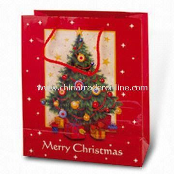 Paper Carrier Bag with Christmas Tree Picture, Ideal for Christmas Holiday and Promotional Purposes