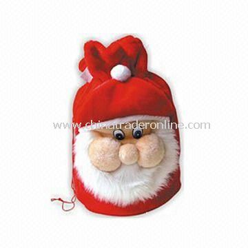 Christmas Bag, Made of Cheap Plush, Available in Christmas Red with Santa Face Decoration
