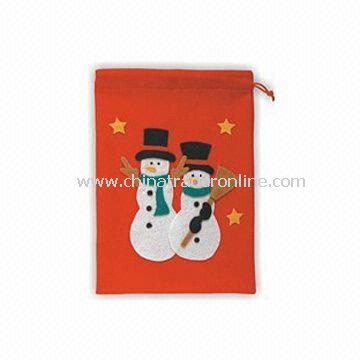 Christmas Bag with Snowman Decoration, Made of Non-woven Fabric