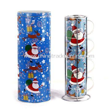 Gift Tin Boxes with Christmas Artwork and Ceramic Cups Packed Inside, Measures 135 x 350mm