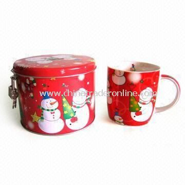 12oz New Bone China Mug with Tin Saving Box, Printed with Christmas Pattern from China