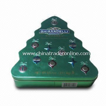 Christmas Tree Style Tin Box with Thickness of 0.23mm, Measures 194 x 215 x 45mm