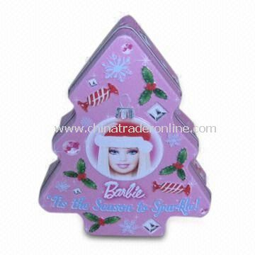 Christmas Tree Tin with CMYK or Panton Color Printing