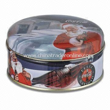 Round Candy Tin/Gift Box/Candle Holder, Available in Christmas Design, Measures 100 x 50mm