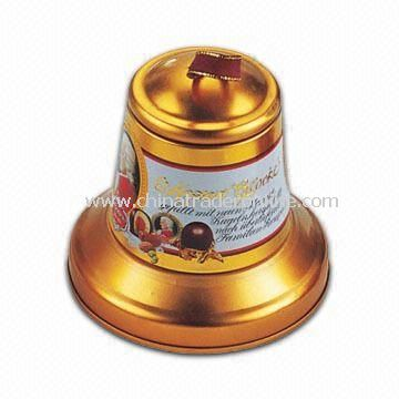 Small Bell Tin Box, Available in Pearl and Embossing Finishes, Useful for Christmas Gift Packing