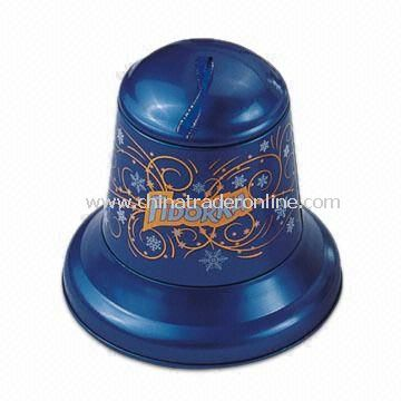 Small Bell Tin Box, Useful for Christmas Gift Packings, Available in Various Finishes
