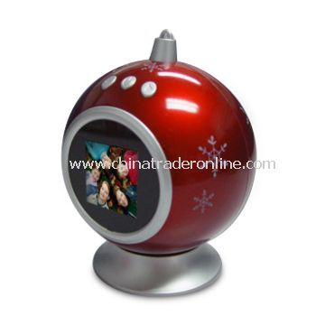 1.5-inch Christmas Ball Photo Frame with Built-in 8MB Flash Mamory, Stores 70pcs Photos