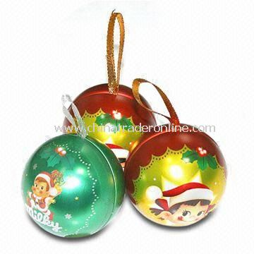 Christmas Balls with Ribbon, Made of Tinplate, Measures 65 x 65 x 65mm