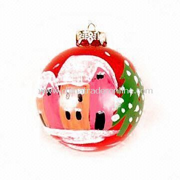 Christmas Glass Ball, Inner Print in Various Colors, Measures Ø8cm