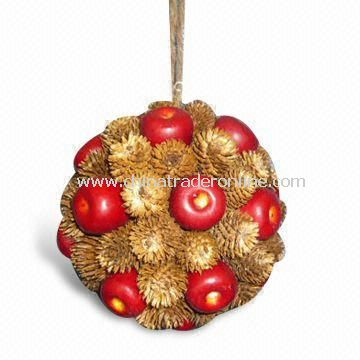 Christmas Ornament Ball with Berry/Pinecone, Nat/Red, with 14cm in Diameter