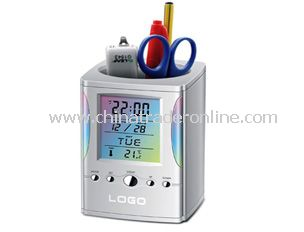 Colorful LCD calendar with penholder