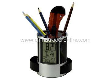 LCD calendar &clock with penholder
