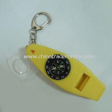 5-in-1 Multifunction Compass with Whistle and LED Flashlight