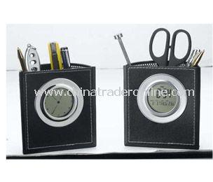 LCD calendar &clcok with penholder