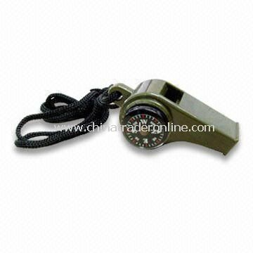 Military Outdoor Whistle with Compass and Temperature Functions, Made of ABS