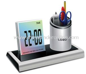 Colorful LCD calendar &clock with penholder