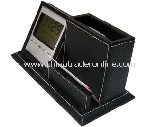 LCD calendar &clcok with leather penholder