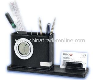 LCD calendar &clcok with penholder and name card holder
