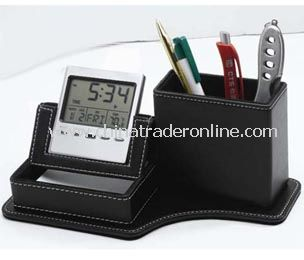 LCD calendar&clock with leather penholder  and Memo pad holder