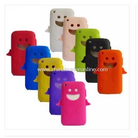 10 Colors Smiling Face Silicon/Rubber Case Skin for Apple iphone 3G 3GS - 50PCS/Bulk