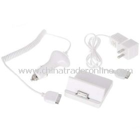3-in-1 AC Power Adapter + Mini Charging Dock + Car Charger for Apple iPad