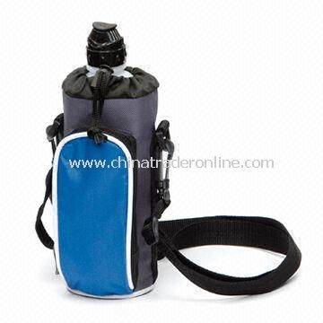 Bottle Cooler Bag with Front Accessories Pocket, Made of 600D Polyester