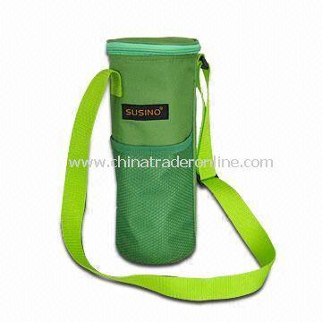 One-bottle Cooler Bag with Adjustable Shoulder Strap, Made of Polyester 600D