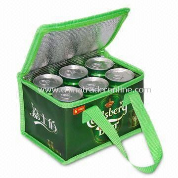 Novelty Six-can Green Cooler/Ice Bag, Measures 21 x 14 x 13cm, OEM Orders are Also Welcome
