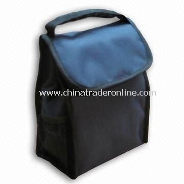 Promotional Cooler Bag with Side Mesh Pockets and ID Window on Back Side
