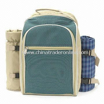 Picnic Cooler Backpack with Detachable Wine Pocket and Blanket